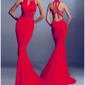 Long Comfortable Elegance in a Red Dress!